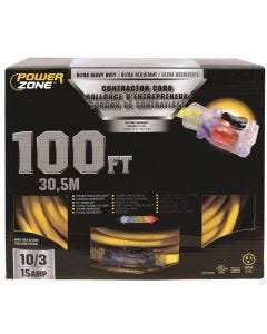 PZ - Extension Cord - Contractor 10/3 - 15Amp - Lighted Locking Connector - Yellow - 100Ft