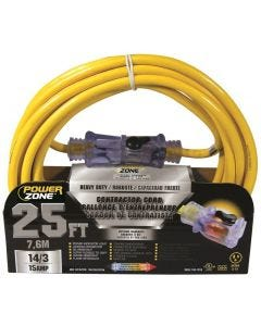 PZ - Extension Cord - Contractor 14/3 - Lighted Locking Connector - Yellow - 25Ft