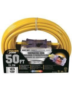 PZ - Extension Cord - Contractor 12/3 - Lighted Locking Connector - Yellow - 50Ft