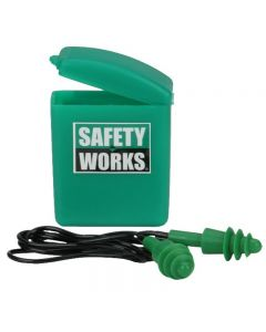 Safety Works - Ear Protection - Ear Plugs w/Cord & Storage Case (23dB) - 1 Pair