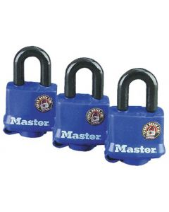 ML - Padlock - Blue Thermo Cover w/Snap Cap - 4-Pin Dual Lock 3/8 Shackle - 3ct