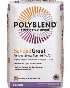 """Polyblend Grout - Sanded Powder - For 1/8"""" to 1/2"""" Joints - #180 Sand Stone - 25lb Bag"""