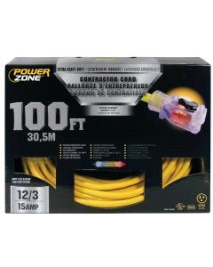 PZ - Extension Cord - Contractor 12/3 - Lighted Locking Connector - Yellow - 100Ft