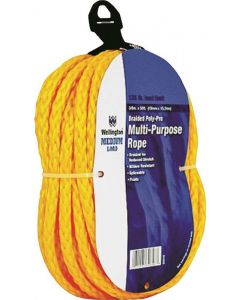 """Rope - Hollow Braided Poly - 3/8""""x50' - Yellow"""