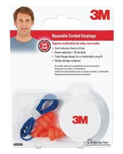 3M - Ear Protection - Reusable Tri-Flange Ear Plugs w/Cord & Container (25dB) - 1ct