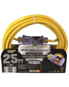 PZ - Extension Cord - Contractor 12/3 - Lighted Locking Connector - Yellow - 25Ft